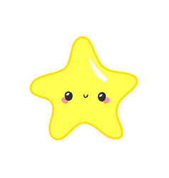 kawaii stars set face with eyes boys and girls vector image
