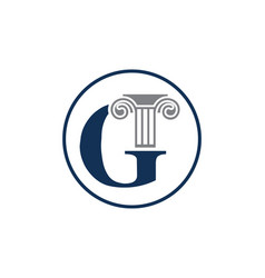Letter g and law pillar logo design column logo vector