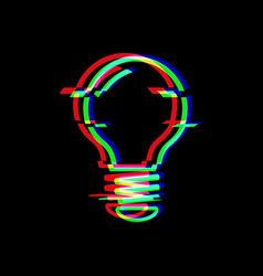light bulb line symbol in glitch style electric vector image
