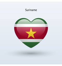 Love Suriname symbol Heart flag icon vector