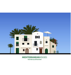 Mediterranean houses palms and blue sky bakground vector