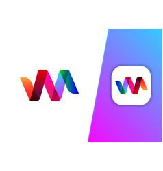 modern colorful ribbon shape logo design vector image
