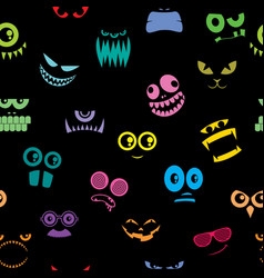 monsters halloween pattern vector image