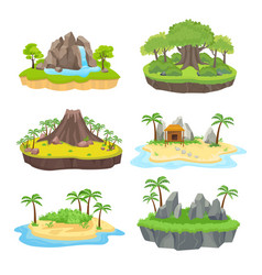 natural island set tropical isometric green vector image