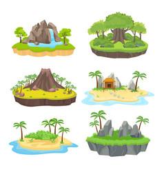 natural island set tropical isometric green vector image