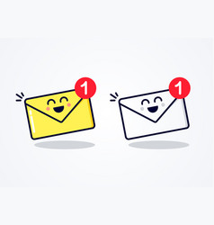 New email inbox message with cute funny face vector