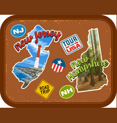 New jersey new hampshire travel stickers vector