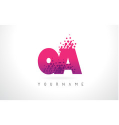 oa o a letter logo with pink purple color and vector image