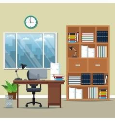 office workspace bookshelf armchair lamp books vector image