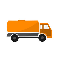orange tank car flat industrial automobile with vector image