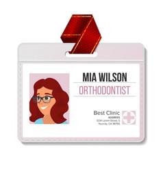 orthodontist identification badge woman vector image