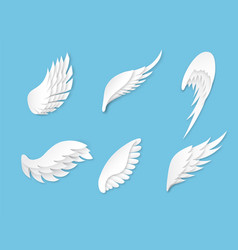 paper wings artificial white different shapes vector image