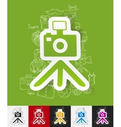 Photo paper sticker with hand drawn elements vector