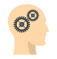 Profile of the head with gears inside icon vector