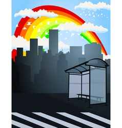 rainbow over a city2 vector image