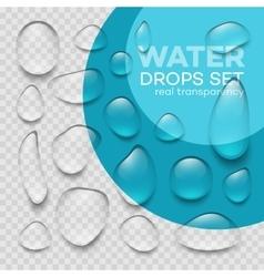 Realistic transparent water drops set vector image