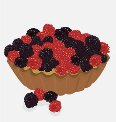 Red fruit tartlet vector