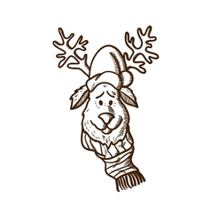 Reindeer in holiday clothes vector image