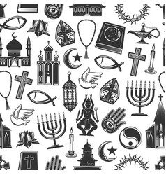 Religion symbols seamless pattern background vector