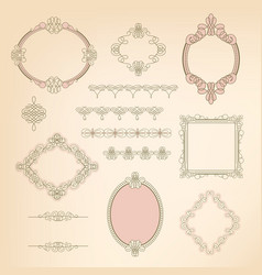 Set collection of calligraphic elements frames vector