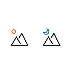 set day and night landscape picture icons vector image
