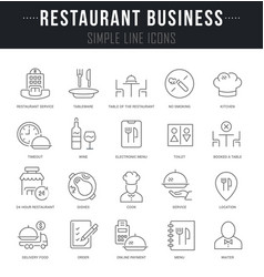 Set line icons restaurant business vector