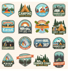 set of camp and kayak club badges concept vector image