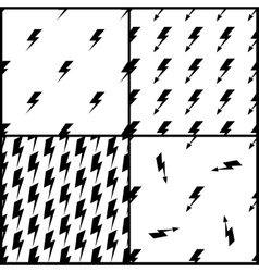 Set of lightning seamless patterns in black vector