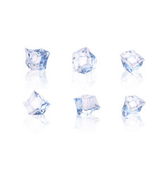 set of six transparent ice cubes vector image