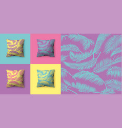 Set seamless patterns with palm leaves in vector