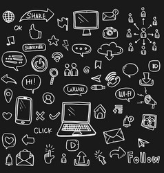 set social media icon hand drawn on black vector image