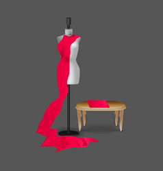 Sewing fashion mannequin realistic mockup vector