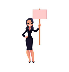 Smiling girl woman businesswoman on strike vector
