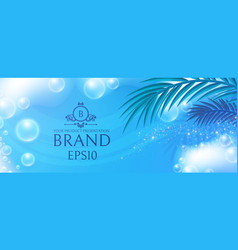 Soap foam with palm leafs on blue background vector