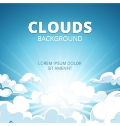 Sunrise in blue sky with clouds background vector