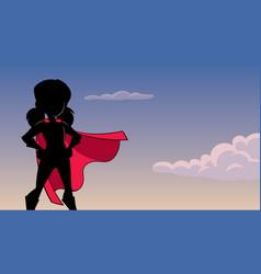 Super girl sky silhouette vector