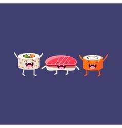 Sushi And Rolls Cartoon Friends vector