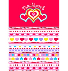 Sweet heart with hearts and matching striped vector image