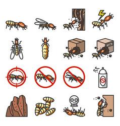 Termite icon set insecticide icon termites eat vector