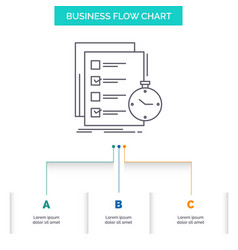 Todo task list check time business flow chart vector