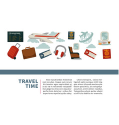 travel or airplane world tour poster flat vector image