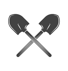 Two crossed shovels Black on white flat logo vector