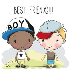 two cute cartoon boys vector image