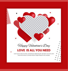 Valentines day social media post template vector