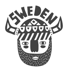 Vikings face in black and white vector