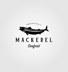 vintage mackerel fish logo label emblem seafood vector image