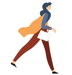 walking woman with handbag and elegant clothing vector image