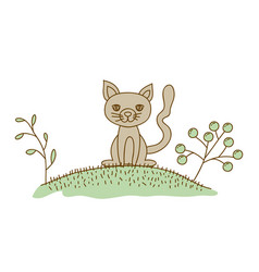 Watercolor hand drawn silhouette of cat in hill vector