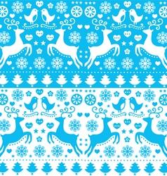 Winter Christmas seamless blue reindeer pattern vector image