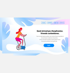 Woman training exercise bike riding stationary vector